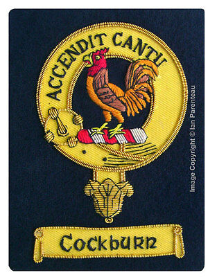 Cockburn Family Crest Hand Embroidered Sew-On Blazer Badge