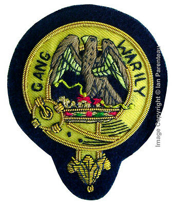 Drummond Family Crest Hand Embroidered Sew-On Cap Badge