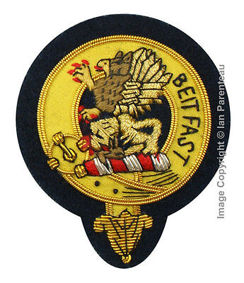 Fotheringham Family Crest Hand Embroidered Sew-On Cap Badge