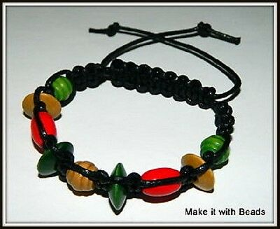 Wooden Beads Black Cord Braided Friendship Bracelet Making Kit + Instructions