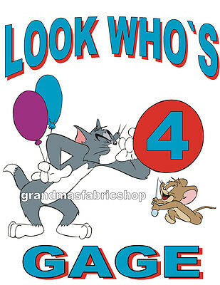NEW Personalized Custom Tom and Jerry Birthday T Shirt Party Favor Gift present