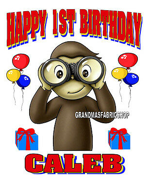 8269a304 New Curious George Personalized Birthday t Shirt Party Favor Gift Add Name  & Age