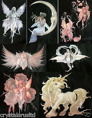 20 x FAIRY ANGEL flock OFSET GLITTER TRANSFER IRON-ON HOTFIX TSHIRT PATCH