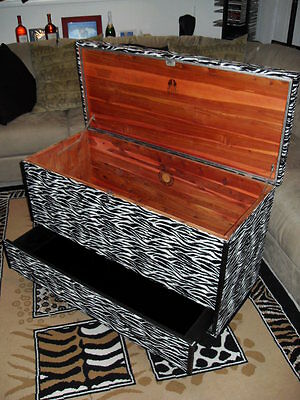 Lane Cedar Chest - custom ZEBRA upholstery -LOCK REMOVED - FREE LOCAL DELIVERY