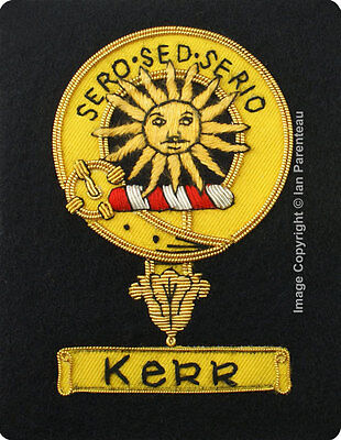 Kerr Family Crest Hand Embroidered Sew-On Blazer Badge