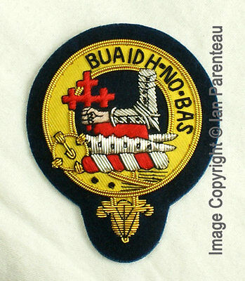 MacDougall Family Crest Hand Embroidered Sew-On Cap Badge