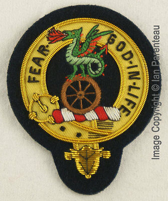 Somerville Family Crest Hand Embroidered Sew-On Cap Badge
