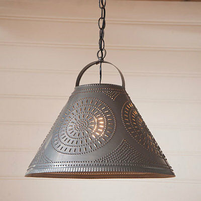 Country new  large blacken punched tin HOMESTEAD hanging shade light / FREE SHIP