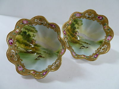 1910S Vintage Pair Of Noritake Hand Painted Footed Bowls Made In Japan