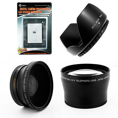Wide+Tele Lens Kit+Hood+LCD Protector for Canon EOS 7D EF 28-135mm f/3.5-5.6