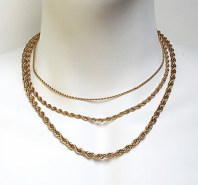 """24K gold plated Stainless Steel Necklace Rope Chain 2mm-6mm 18"""",20"""",24"""",30"""""""