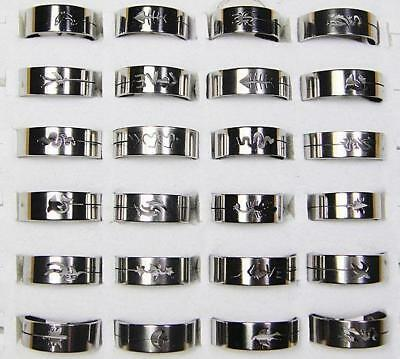 wholesale Mixed lots 30pcs fashion stainless steel rings jewelry free shipping