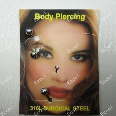 12sets Facial piercing lots 316L Surgical Steel wholesale jewelry free shipping