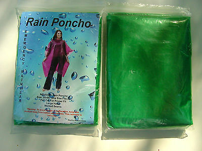 4 Waterproof Ponchos Cape Mac Festivals Disposable Emergency Raincoat Green