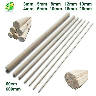10 pack - 60cm Hardwood Wooden Dowels / Craft Sticks - Pick Your Size - Free P&P