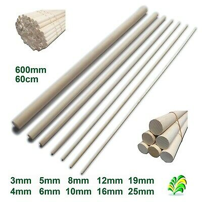 10 pack - 60cm 600mm Hardwood Wooden Dowels / Craft Sticks - Pick How Thick