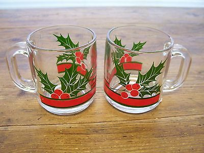 2 Holly Berry Mistle Toe Glass Coffee Mugs Cups Christmas Clear Holiday