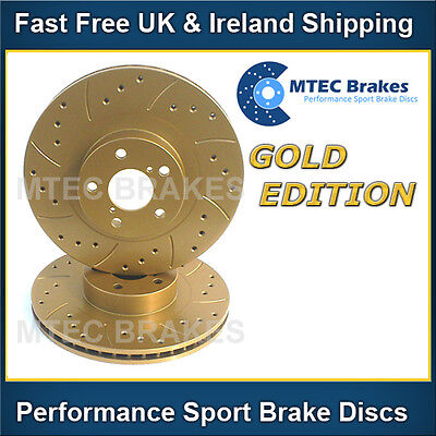 BMW E81 118d 05/07- Front Brake Discs Drilled Grooved Mtec Sport Gold Edition