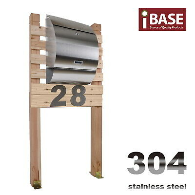 Wooden Stand Stainless Steel Townhouse Mailbox Letterbox Letter Mail Post Free