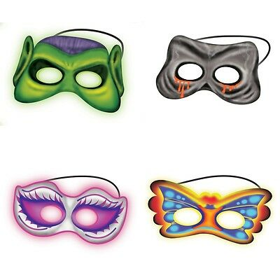 Halloween Fancy Dress Costume Glow In The Dark Mask & 4 Glow Sticks NEW