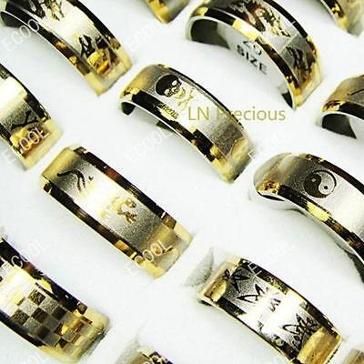 wholesale lots jewelry 20pcs gold Pattern stainless steel rings free shipping