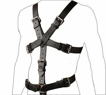 Mans GENUINE LEATHER FULL BODY HARNESS GAY INTEREST