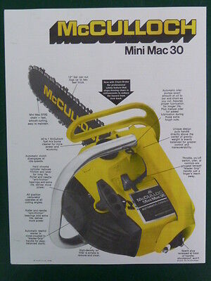 1975 McCULLOCH MINI MAC 30 CHAIN SAW SALES BROCHURE w/ SPECS