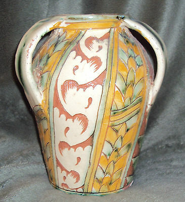 Mid Century Italy Red Clay POTTERY Hand Painted Water VASE Signed 246 PISA ITALY