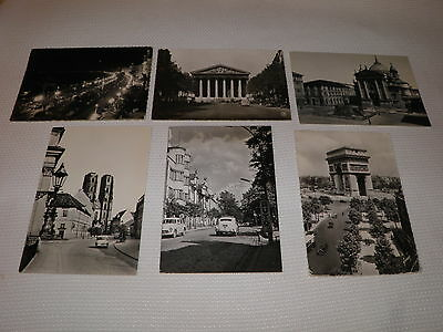 """Lot of 6 Nice Black and White """" Europe """" Postcards, All with Cars, Automobiles !"""