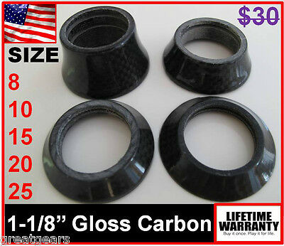 """8 10 15 20 25 mm 1-1/8"""" Conical Tapered Carbon Headset Road Bike Stem Spacer Cap"""