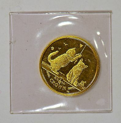 2001 Isle of Man 1/10 Crown Gem Proof Somali Kittens gold coin