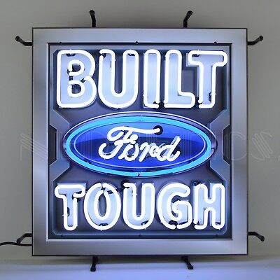 Neon sign Built Ford Tough oval on metal grid Truck F-150 F-250 f-350 shop lamp