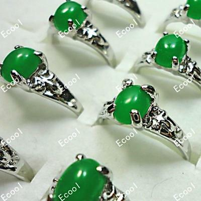 New wholesale jewelry lots 20pcs malay jade silver plated rings free shipping