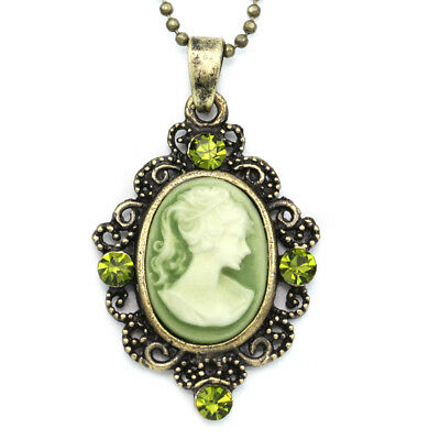 Small Cute Dark Olive Green Cameo Pendant Necklace Charm Antique Silver Tone e2