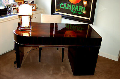 Art Deco Stunning Mint Museum Quality 1930 Makassar Ebony French Desk And Chair