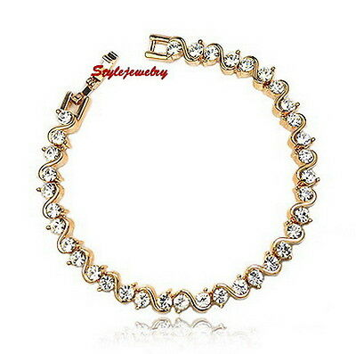 Rose Gold Filled Clear Diamond Tennis Bracelet Made With Swarovski Crystal T9