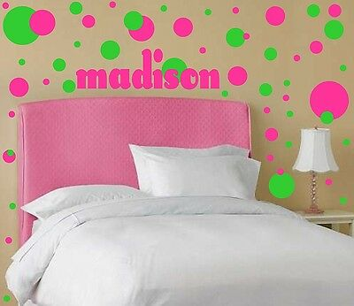 Polka Dot Pack of 54 with Name Vinyl Wall Decal Decor