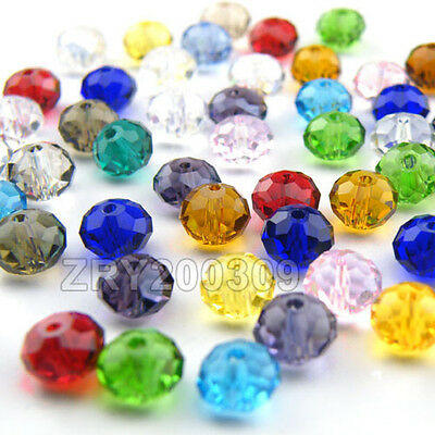 6mm Rondelle Faceted Glass Crystal Spacer Beads 22Color-1 Or Mixed R0089