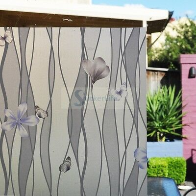90cm x 3m Purple Flower & Butterfly Privacy Frosted Frosting Window Glass Film