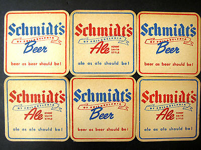 Set 6 Vintage Bar Coasters SCHMIDT'S Beer ALE Robert Smith Style PHILADELPHIA
