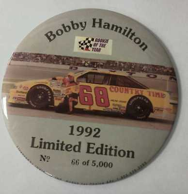 "Vintage NASCAR 1992 Huge 6"" BOBBY HAMILTON Rookie Of The Year Pin #5000"