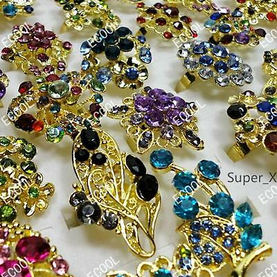 wholesale lots jewelry 6pcs vintage Rhinestone gold plated rings free shipping