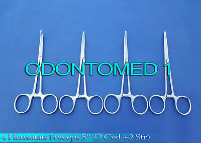 "HEMOSTATS / LOCKING FORCEPS 5"" -- 2 Curved 2 Straight - Stainless Steel NEW"