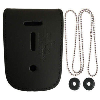 Leather Detective Badge & ID Holder - Neck Chain Badge Holder