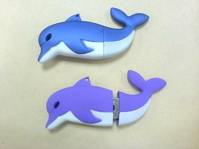 USB PC Flash Memory Stick Key Ring. Dolphin 2GB - BLUE + Keychain and Case