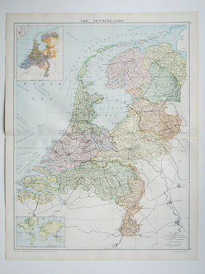1920 Map The Netherlands Large Colour Map Gross