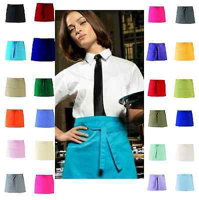 Half Size Short Waist Apron 3 Pockets Cafe Restaurant Waiter Waitress Pub Bar
