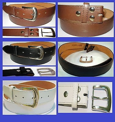 MEN WOMEN Black Brown Leather Snap On Removable buckle No Buckle belt+big sizes