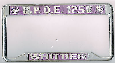 rare whittier california bpoe elks club lodge vintage dealer license plate frame