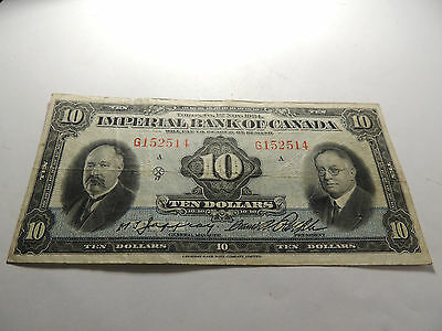 1934 Imperial Bank Canada $ 10 Dollars Jaffray Rolph G152514 375-22-08